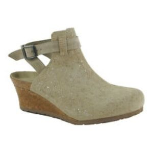 Birkenstock Esra Tan Silver Leather Clog Wedge 39